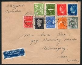 Luchtpostcover met kortebalkstempel OOSTERHOUT (N.B.) naar Canada.