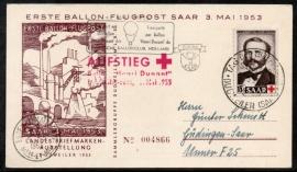 Saar. Eerste dag kaart met ballonpost. 3 Mei 1953.