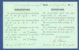 Firma briefkaart Jipsingboermussel (sluis) 1917 met kortebalkstempel TERAPELKANAAL.