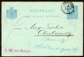 G - Briefkaart (met betaald antwoord) met kleinrondstempel GRONINGEN naar Duitsland.