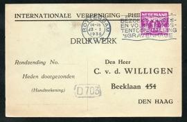 Roltanding 35 op firma briefkaart met vlagstempel ROTTERDAM naar Den Haag.