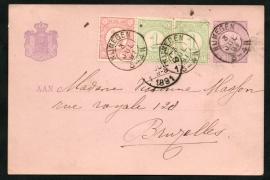 G - Briefkaart met bijfrankering met kleinrondstempel NIJMEGEN naar Bruxelles, België.