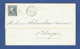 """Puntstempel 29 en 2-letterstempel DORDRECHT op briefomslag naar """"s GRAVENHAGE."""