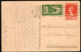 Briefkaart met vlagstempel ROTTERDAM naar U.S.A. Op ansichtkaart Rotterdam, Molen Oostpoort.