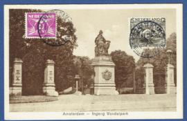 AMSTERDAM, Ingang Vondelpark. Gelopen kaart.