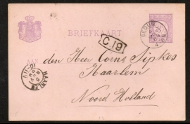 G - Briefkaart met kleinrondstempel BEDUM naar HAARLEM.