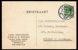 Firma briefkaart DEVENTER 1931 met kortebalkstempel DEVENTER naar Helpman.