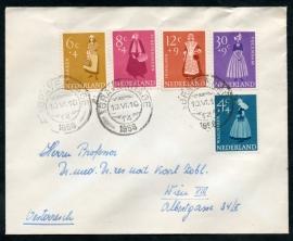 Cover met serie zomerzegels van 1958 met kortebalkstempel `s GRAVENHAGE naar Oostenrijk.
