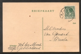 Briefkaart met langebalkstempel ULFT naar Breda.