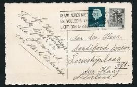 Briefkaart met internationale combinatie. Nederlands zegel, Belgisch zegel. Afgestempeld in `s GRAVENHAGE. Op ansichtkaart Lourdes Oostacker.