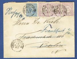 Cover met mengfrankering emissie 1876 en 1891 met traject stempel ZWOLLE - ENSCHEDE naar Duitsland.