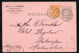 Firma briefkaart ROTTERDAM 1894 met kleinrondstempel ROTTERDAM naar België.