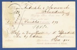 Particulier postwaardestuk AMSTERDAM 1900, JACOB ANKERSMIT & ZOON. AMSTERDAM naar SCHWEIDNITZ, Polen.