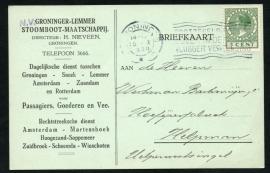 Firma briefkaart GRONINGEN 1930 met vlagstempel GRONINGEN naar Helpman.