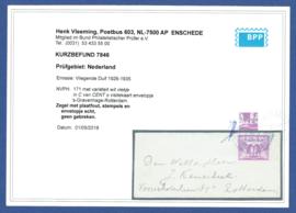 Plaatfout 171. Wit vlekje in C. (variant Gent). Op visitekaart envelopje. Kotebalkstempel 's GRAVENHAGE naar Rotterdam. Met certificaat Vleeming.