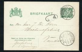 G - Briefkaart met langebalkstempel / martinstempel GRONINGEN 2 naar VEENDAM.