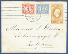 Cover met jubileum 1913 van ARNHEM naar ZUTPHEN.