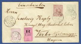G - Cover 12,5 cent met bijfrankering aangetekend van VELP (GLD) naar Hongarije.