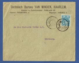 Firma cover HAARLEM 1904 van HAARLEM naar Nurnburg, Duitsland.