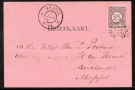 Briefkaart met kleinrondstempel STEENWIJK naar MEPPEL.