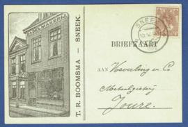 Firma briefkaart SNEEK 1922 met kortebalkstempel SNEEK naar Joure. Geïllustreerd.