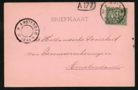 Firma briefkaart 's GRAVENHAGE 1900 met grootrondstempel 's GRAVENHAGE naar AMSTERDAM.