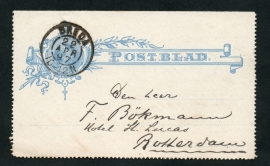 Postblad G 6 met kleinrondstempel: BREDA naar ROTTERDAM.