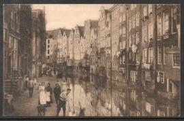 Perfin K.  AMSTERDAM, Achterburgwal. Gelopen kaart.