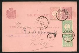 G - Briefkaart met bijfrankering en kleinrondstempel GRONINGEN naar België.