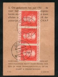 Postbuskaartje SNEEK 1952 met nvph 534 (in strook van 3).