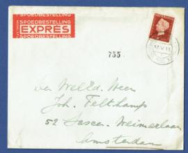 Cover met kortebalkstempel 's GRAVENHAGE FLATGEBOUW DUINWIJCK 1 naar AMSTERDAM. Express.