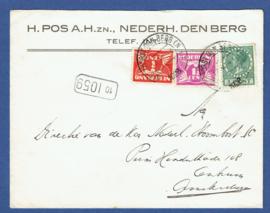 Bestellerstempel (zeer hoog nummer) op firma cover van NEDEERHORST DEN BERG NAAR  Amsterdam.