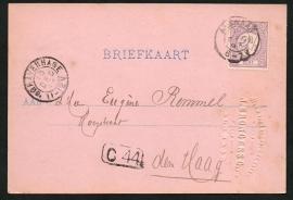 Firma briefkaart ALKMAAR 1893 met kleinrondstempel ALKMAAR naar 's GRAVENHAGE. Met bedrijfsnaam inslag.