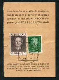 Half postbuskaartje 1952 met nvph 531 en 535.