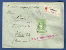 Aangetekende censuur cover met jubileum 1913 nvph 97 enkelfrankering van GRONINGEN naar Wenen, Oostenrijk.