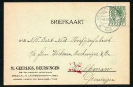 Firma briefkaart DEURNINGEN 1930 met kortebalkstempel HENGELO (Ov) naar Helpman.