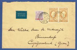 Cover met mengfrankering met langebalkstempel HOOGEZAND naar Grijpskerk. (jubileum 1913)