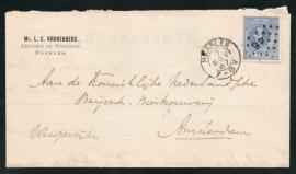 Puntstempel 46 en kleinrondstempel HAARLEM op firma vouwbrief naar AMSTERDAM.