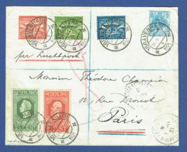 Luchtpost met jubileum 1913 en kortebalkstempel 's GRAVENHAGE naar Parijs op cover G 19a.