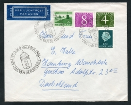 Luchtpostcover van AMSTERDAM naar Duitsland met frankering GOUDA ZEGELS (fluorescerende zegels). DAG VAN DE POSTZEGEL AMSTERDAM 6 OCTOBER 1962.
