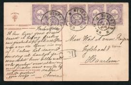 Briefkaart met grootrondstempel DEVENTER naar Haarlem. Op ansichtkaart DEVENTER.