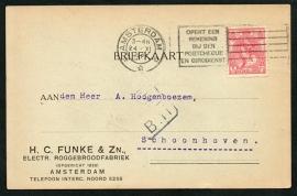 Firma briefkaart AMSTERDAM 1920 met vlagstempel AMSTERDAM naar Schoonhoven.
