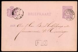 G - Briefkaart met kleinrondstempel GRIJPSKERK naar GRONINGEN.