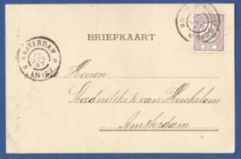 Firma briefkaart MIDDELBURG 1897 met grootrondstempel MIDDELBURG naar AMSTERDAM.