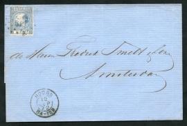 Puntstempel 62 en 2-letterstempel HOORN op briefomslag naar AMSTERDAM. Met bedrijfsnaam inslag.