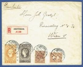 Aangetekende cover met jubileum 1913 met langebalkstempel AMSTERDAM naar Wenen.