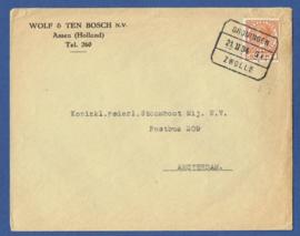 Firma cover ASSEN 1934 met blokstempel GRONINGEN - ZWOLLE naar Amsterdam.