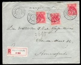Cover met grootrondstempel NOORDDIJK (GRON.) naar AMERSFOORT.Aangetekend, waarde, verzegeld met lak.