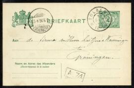 G - Briefkaart met grootrondstempel TOLBERT naar GRONINGEN.