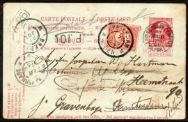 Belgïe. Geïllustreerde Zwerf-postwaardestuk van België naar Nederland, Doorgestuurd in Nederland.